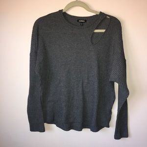 Express knit open collarbone sweater